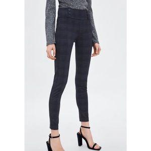 NWT Zara Trafaluc Plaid Grey Leggings M
